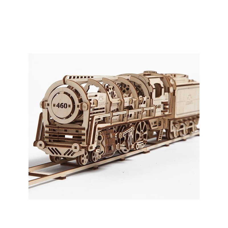 Locomotora con ténde. Steam Locomotive with Tender. UGears 70012